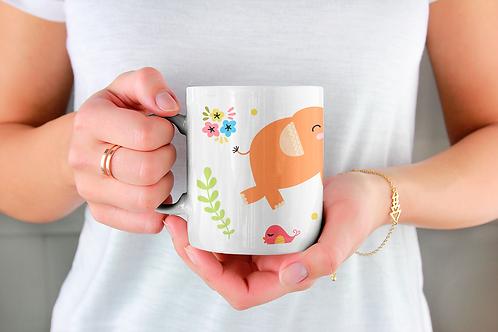 Чаша за кафе с илюстрации на Слончета - вариант 17 - Безплатна доставка.