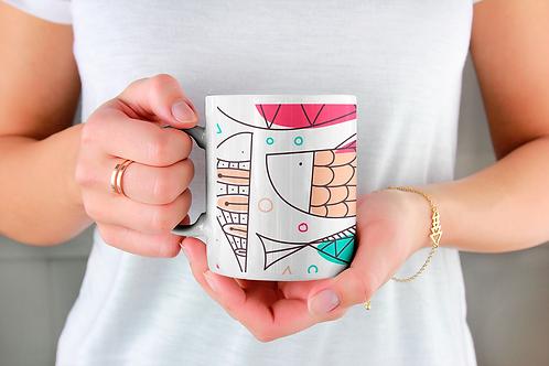 Стилна чаша за кафе с оригинални илюстрации на Риби - вар.13 -Безплатна доставка