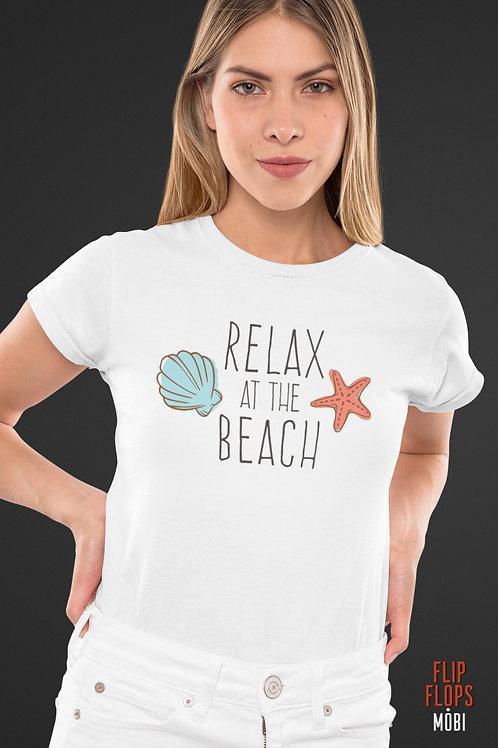 Бяла тениска - Relax At The Beach - Безплатна доставка