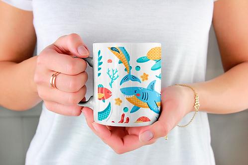 Стилна чаша за кафе с оригинални илюстрации на Риби - вар.2