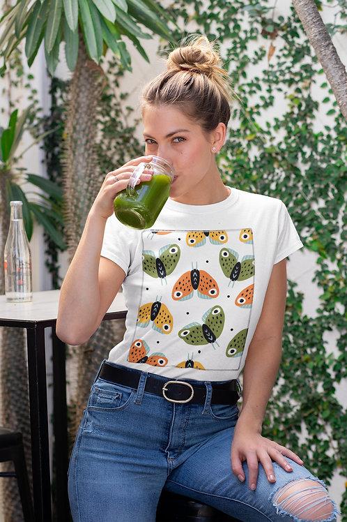 Бяла тениска с илюстрация на Пеперуди - Вариант 1 - Безплатна доставка