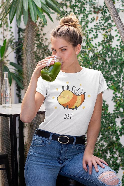 Бяла тениска с илюстрация на Пчели - Вариант 4 - Безплатна доставка