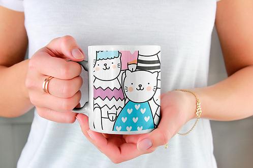 Чаша за кафе със стилни илюстрации на Котки-вар.14 -Безплатна доставка