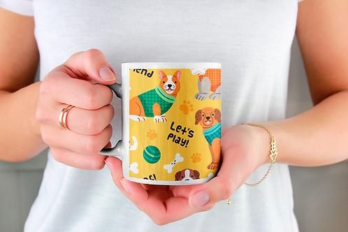 Чаша за кафе с илюстрации на кучета - вариант 15