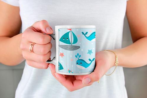 Стилна чаша за кафе с оригинални илюстрации на Риби - вар.4