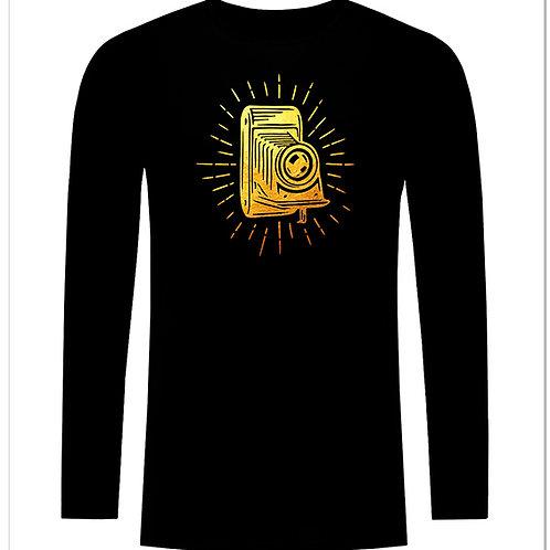 Черна тениска с дълъг ръкав - Ретро фото камера - вариант 2