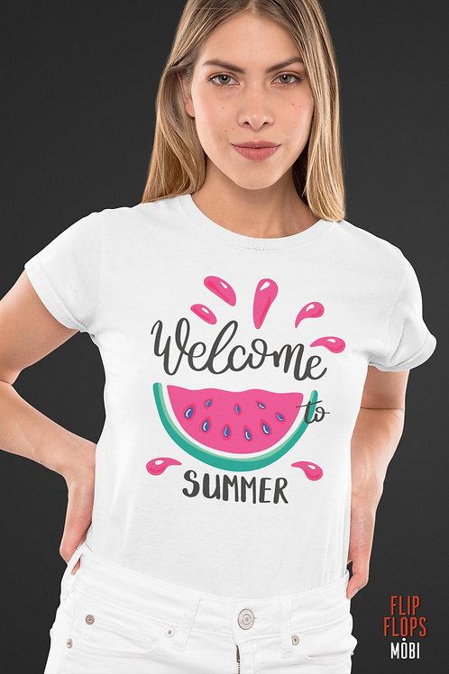 Бяла тениска - Welcome Summer - Безплатна доставка