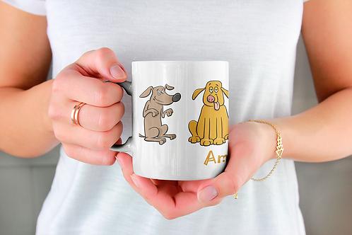 Стилна чаша за кафе с илюстрации на кучета - вариант 3 - Безплатна доста