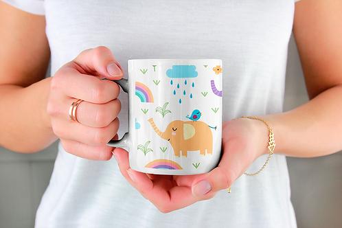 Чаша за кафе с илюстрации на Слончета - вариант 3 - Безплатна доставка.