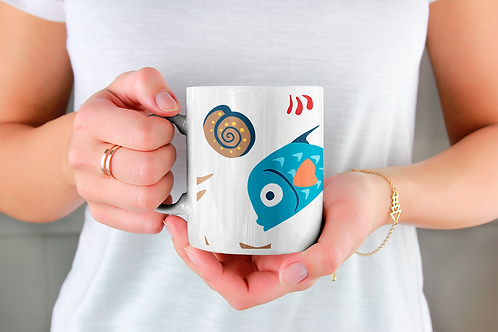 Стилна чаша за кафе с оригинални илюстрации на Риби - вар.6