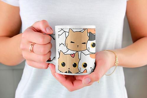 Стилна чаша за кафе с илюстрации на котки - вариант 3 - Безплатна доставка!