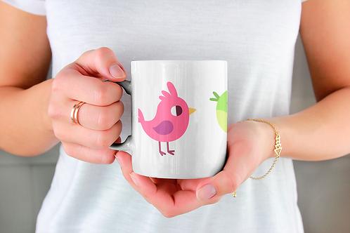 Стилна чаша за кафе с оригинални илюстрации на Птици - вар.12