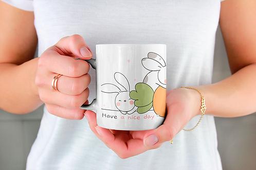 Стилна чаша за кафе с илюстрации на Зайци-вар.16 -Безплатна доставка