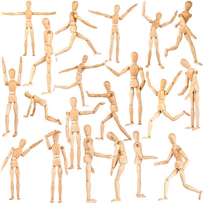 Set of wooden dummies isolated on a whit