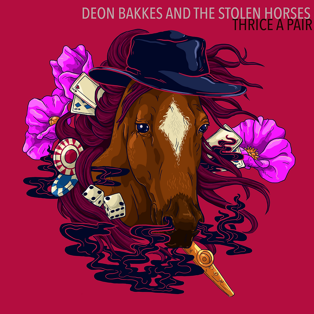 Cover art for Thrice A Pair by Deon Bakkes and The Stolen Horses