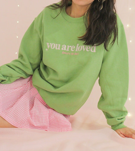Kiwi Green Loved Crewneck