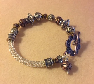 Viking knit bracelet with beads May 23