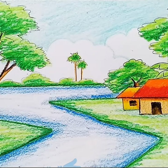 Landscapes in Colored pencils and Pastels