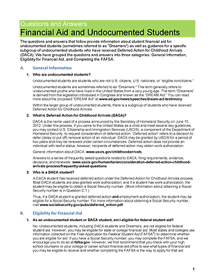 Financial Aid and Undocumented Students.