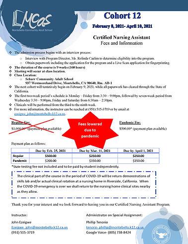 REV Certified Nursing Assistant Fee Info