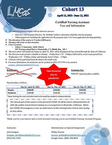Certified Nursing Assistant Fee Informat