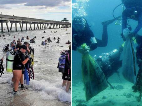 Más de 600 buzos batieron el récord mundial de limpieza submarina.