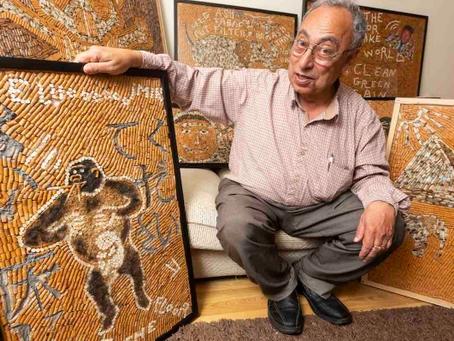 Farmacéutico recolecta 120,000 colillas para crear arte con conciencia.