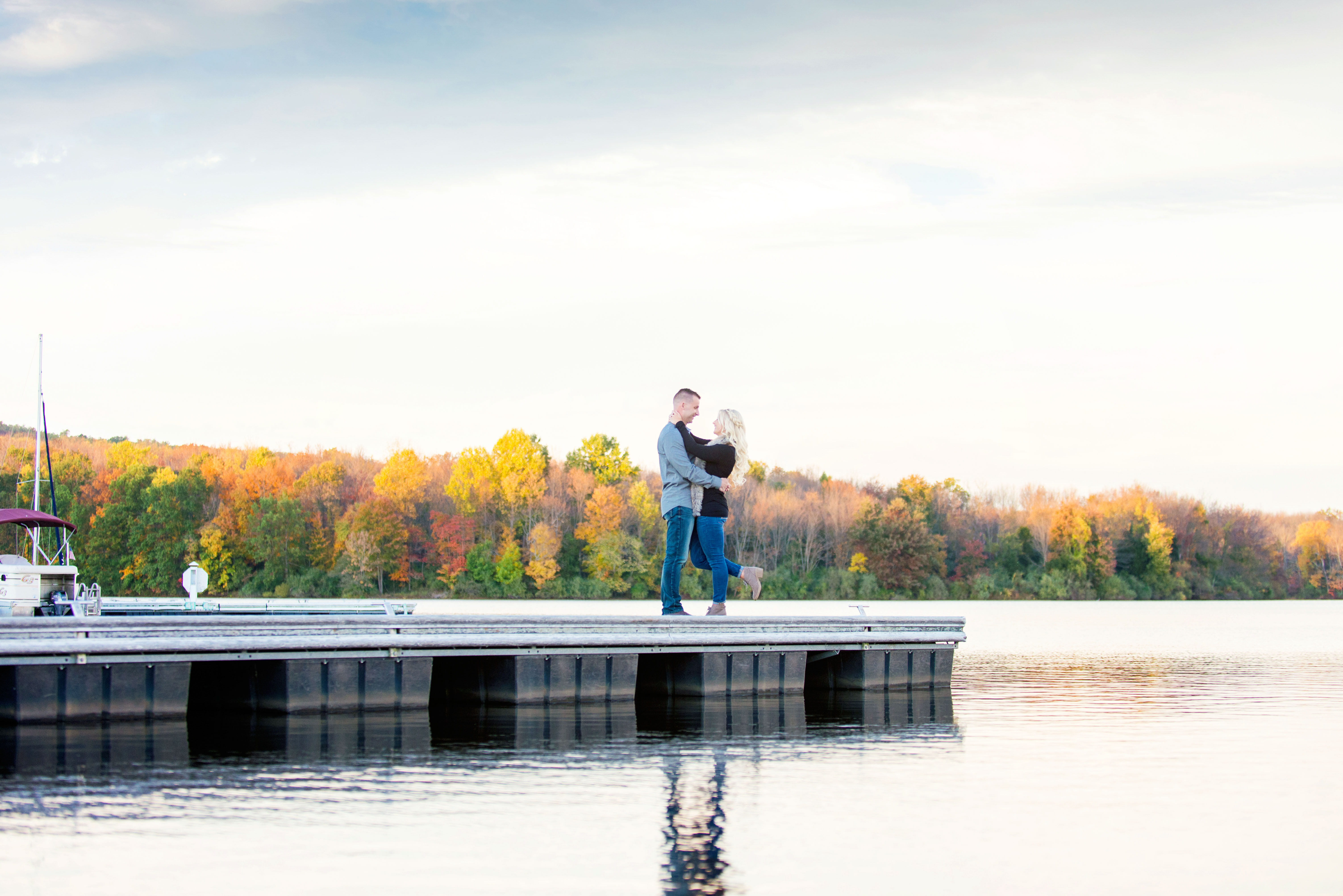 Kayla and Bryan Engagement Photos Lake Nockamixon Bucks County Pennsylvania Andrea Krout Photography