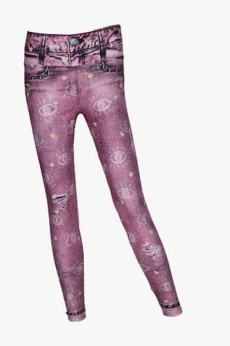Leggings jeans pink & gold