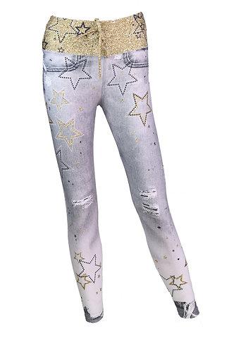 Leggings jeans grey gold cordon