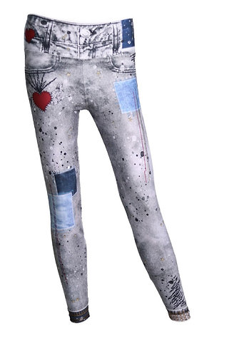Leggings jeans gris hearts