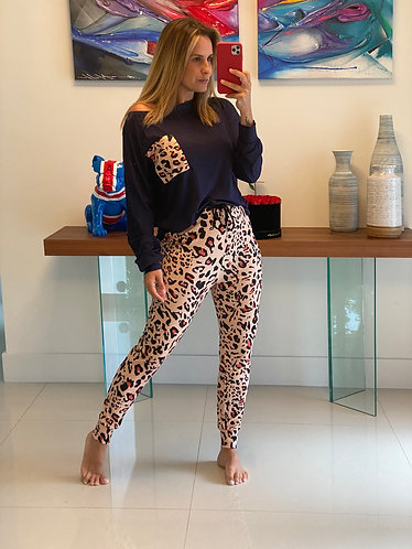 Pijama blue leopardo