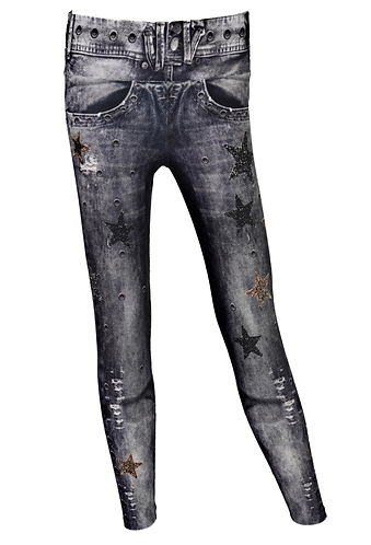 LEGGINGS JEANS  BLACK SUPER STARS