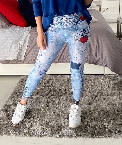 Leggings blue jeans hearts