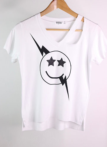 T-shirt happy face white