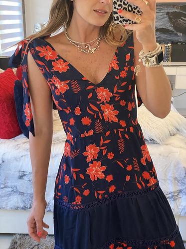 Maxi dress blue red