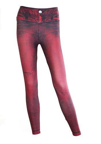 Leggings jeans plain wine