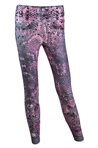 Leggings jeans snake pink