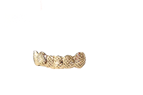 Solid Gold Polished Diamond Cut Grill