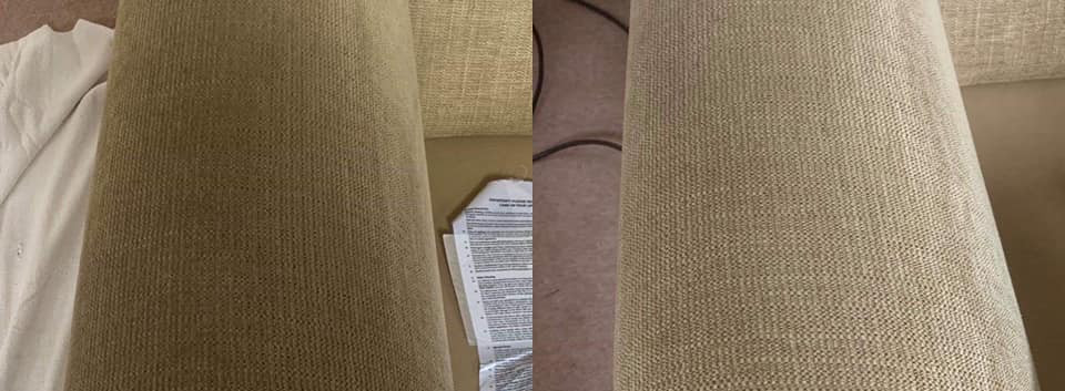 before and after of sofa clean by 1stcla
