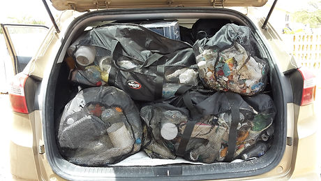 Reusable bags full of marine litter