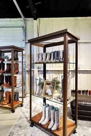 Python boots on shelf