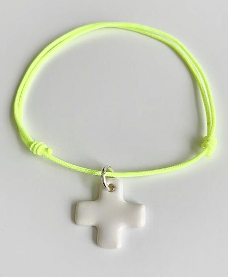 Bracelet Essentiel jaune fluo croix