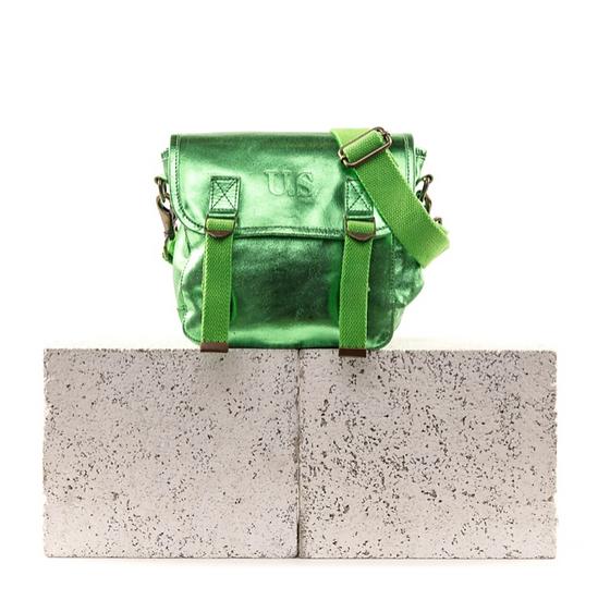 Sac US cuir métallisé vert gazon petit modèle