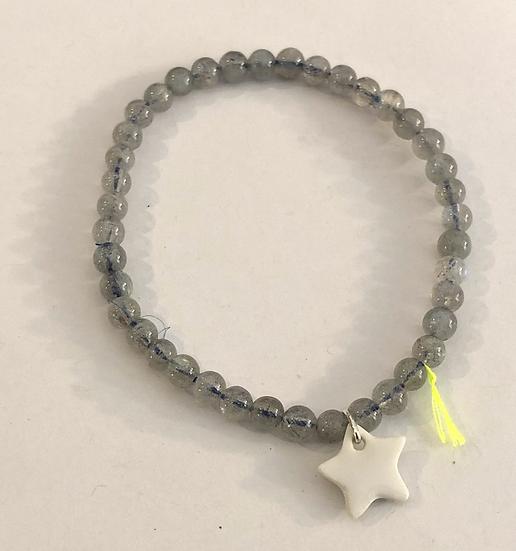Bracelet Divine 4mm Gris étoile blanche