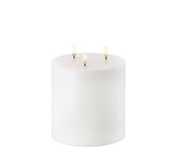 Bougie Led 3 flammes 15x15cm blanc