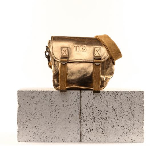 Sac US cuir métallisé doré petit modèle