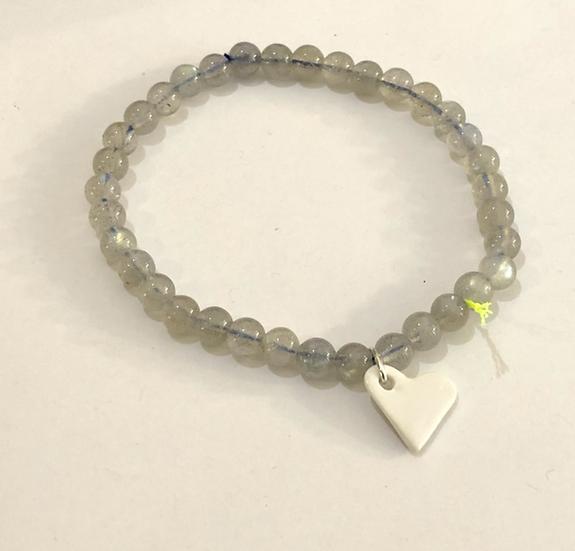 Bracelet Divine 4 mm Gris coeur blanc