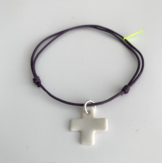 Bracelet Essentiel violet Croix blanche