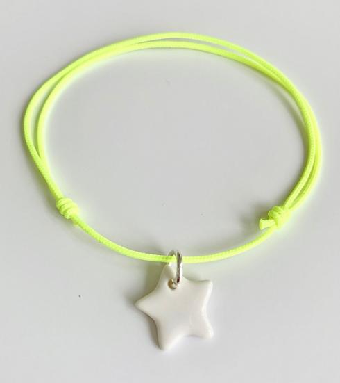 Bracelet Essentiel jaune fluo étoile